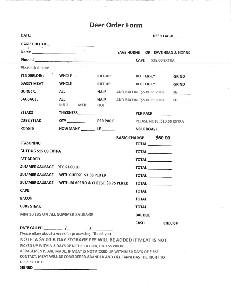 Image of Deer Order Form